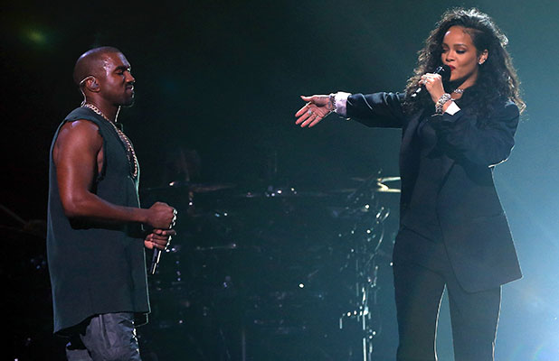 Kanye West (L) and Rihanna perform onstage during DirecTV Super Saturday Night hosted by Mark Cuban's AXS TV and Pro Football Hall of Famer Michael Strahan at Pendergast Family Farm on January 31, 2015 in Glendale, Arizona.