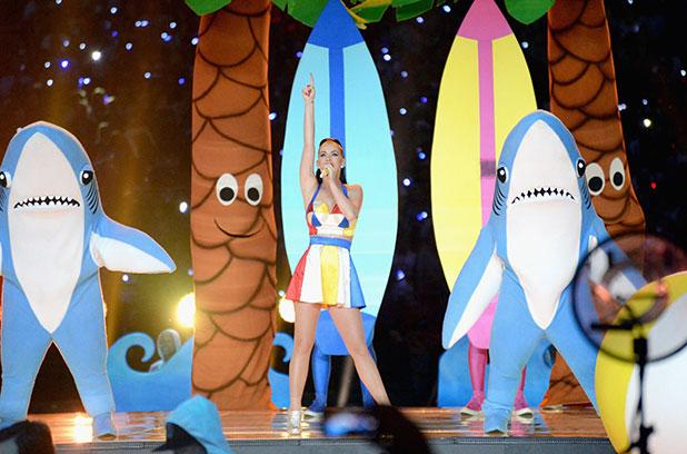 Katy Perry during the Pepsi Super Bowl XLIX Halftime Show at University of Phoenix Stadium on February 1, 2015 in Glendale, Arizona. (Photo by Jeff Kravitz/FilmMagic)