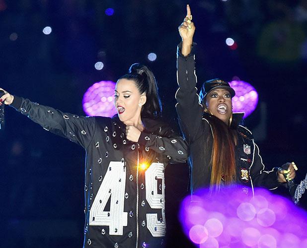 Katy Perry and Missy Elliott during the Pepsi Super Bowl XLIX Halftime Show at University of Phoenix Stadium on February 1, 2015 in Glendale, Arizona. (Photo by Jeff Kravitz/FilmMagic)