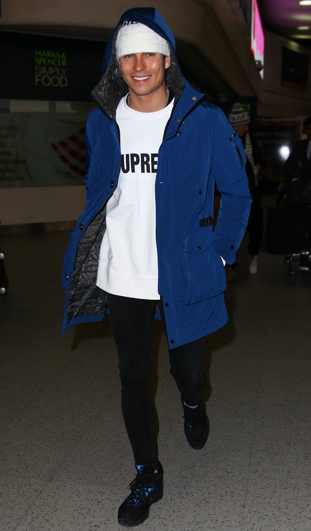Joey Essex arrives at Gatwick airport after winning the Jump, London 10 February
