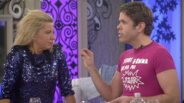 Perez Hilton and Katie Hopkins clash after Hilton announced his hatred for the British public, on 'Celebrity Big Brother'. Broadcast on Channel 5 HD. 01/28/2015.