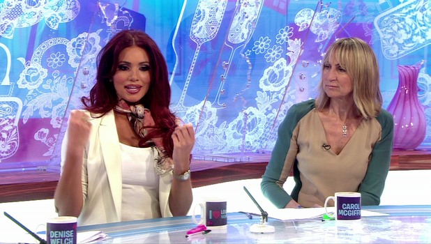 Amy Childs appears on Loose Women with regular panellist Carol McGiffin, 23 April 2013