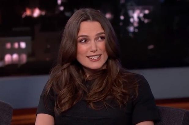 Keira Knightley appears on Jimmy Kimmel, LA 12 February