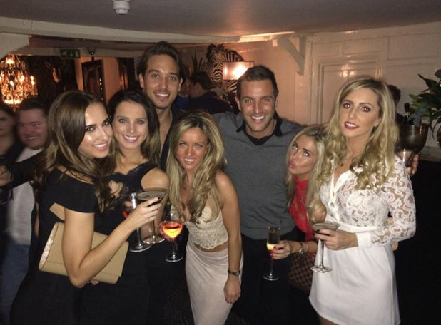 Elliott Wright and James Lock surround themselves with women at Sheesh Chigwell - 11 Feb 2015