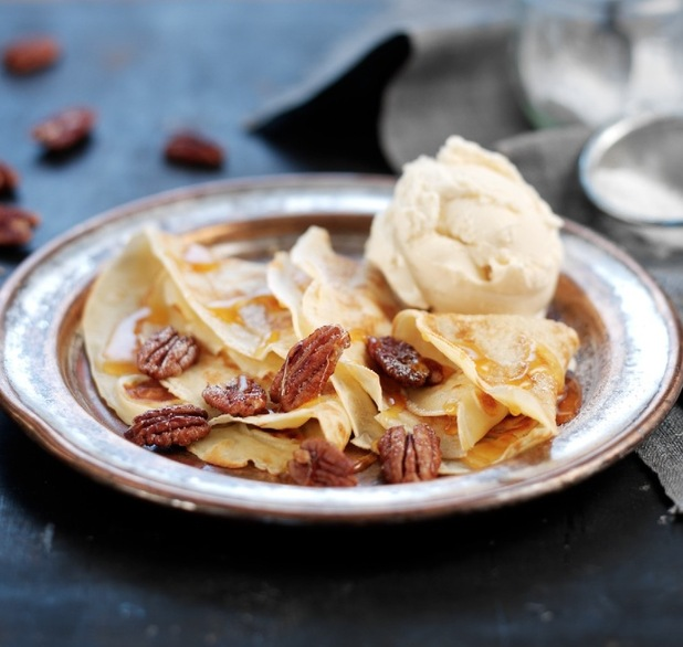 Pancaked with sea-salted caramelised pecans and ice cream