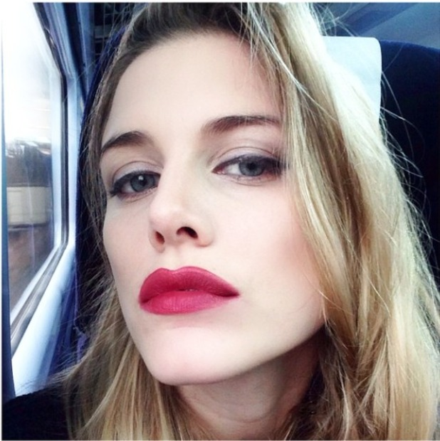 Ashley James takes selfie on a train after giving herself a trout pout, 10 February 2015