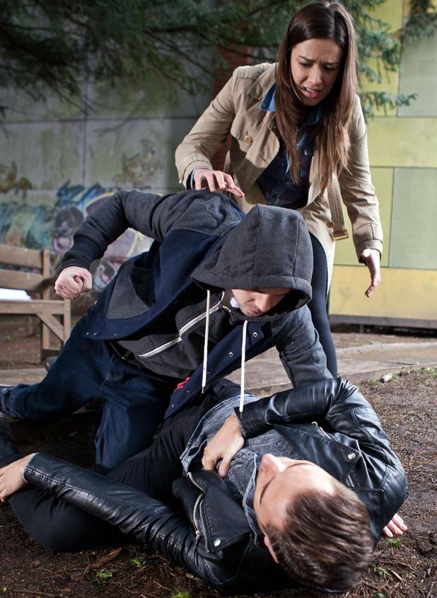 Hollyoaks, Dan beats up Freddie and Lindsey, Tue 17 Feb