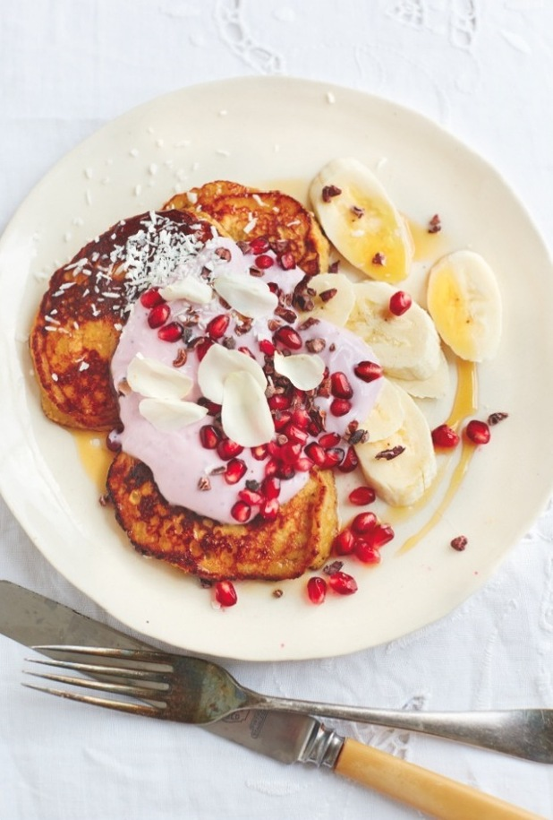 coconut & banana pancakes from nourish kyle books
