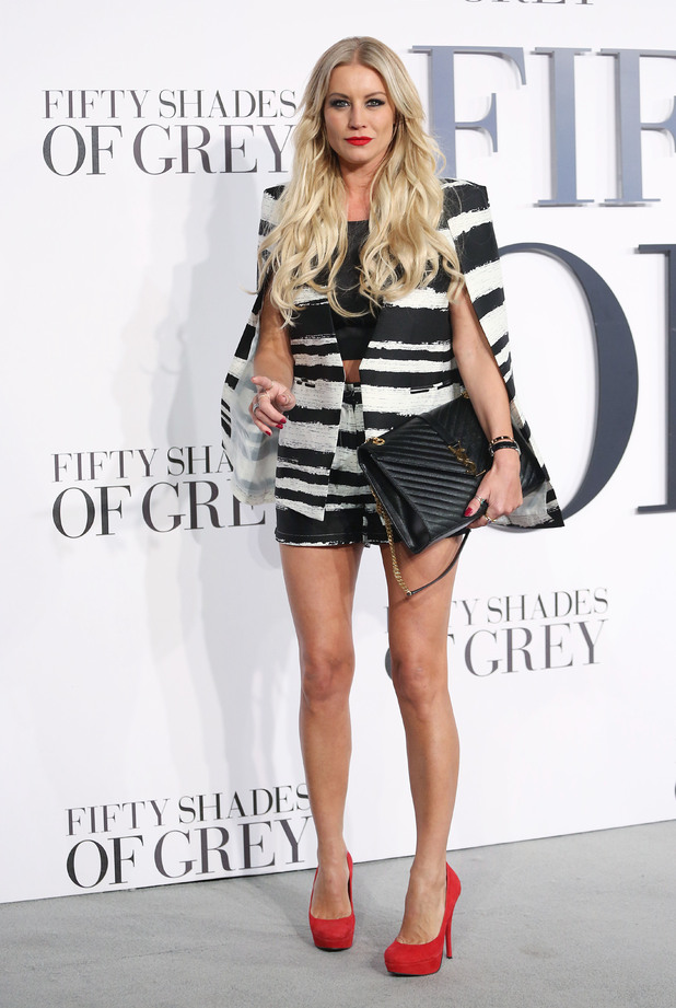 Denise Van Outen steps out in striped co-ord for 50 Shades premiere
