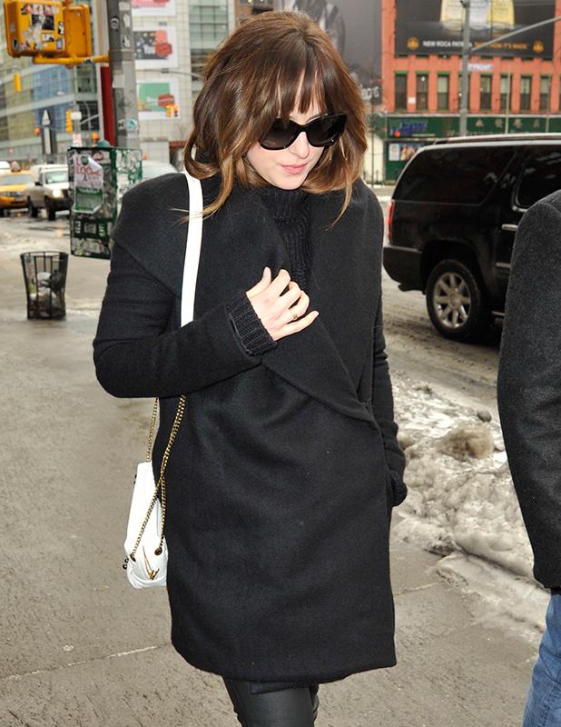 Dakota Johnson is seen in SoHo on February 9, 2015 in New York City.