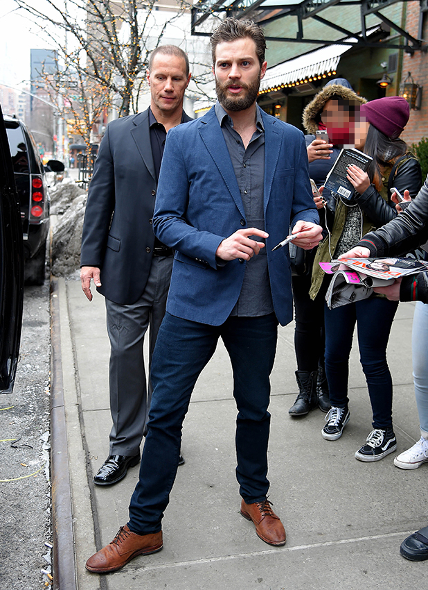 Jamie Dornan seen out in East Village on February 07, 2015 in New York City.