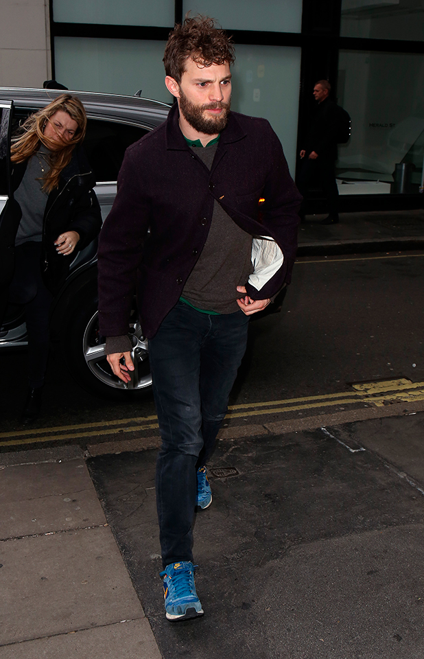 Jamie Dornan seen at KISS FM UK on February 13, 2015 in London, England. (Photo by Neil Mockford/Alex Huckle/GC Images)