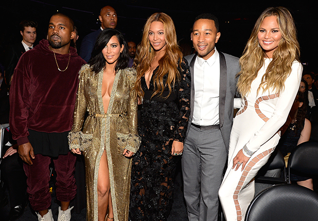 Kanye West, Kim Kardashian, Beyonce, John Legend and Chrissy Teigen onstage during The 57th Annual GRAMMY Awards at the STAPLES Center on February 8, 2015 in Los Angeles, California.