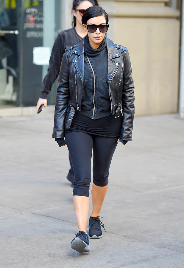 Kim Kardashian seen leaving Barry's Bootcamp in Noho on February 11, 2015 in New York City