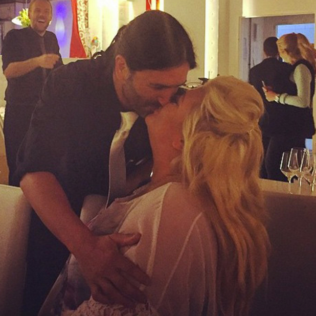 Gemma Collins shares a friendly kiss with a waiter in Tenerife, 10 February 2015
