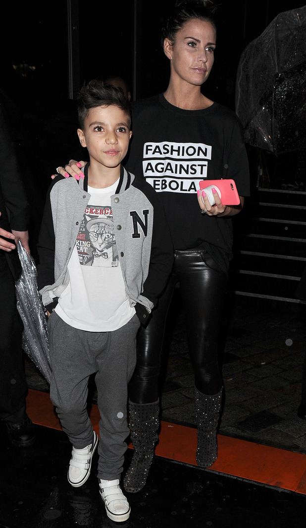 Katie Price walks the catwalk in a tuxedo for Fashion For Relief in London, leaving Somerset House with Junior - 19 Feb 2015