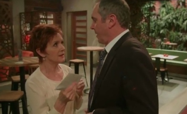 The cast of Neighbours celebrate EastEnders' 30th anniversary with funny sketch. Jackie Woodburne and Alan Fletcher, aka Susan and Karl Kennedy, recreate Den and Angie Watts' divorce papers scene.19 February 2015.
