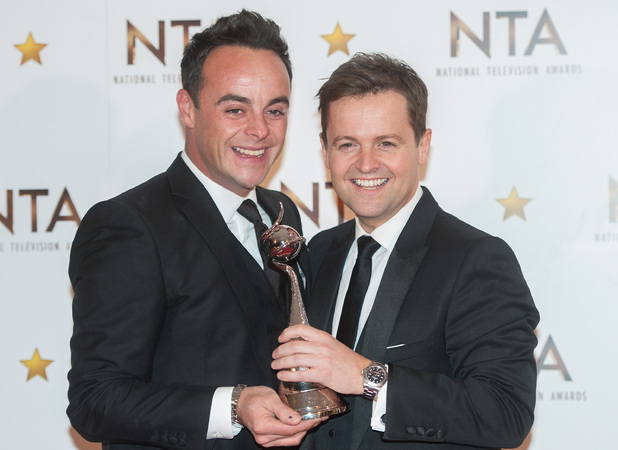 Ant McPartlin and Declan Donnelly with NTA Award, NTAs 2015, London 21 January