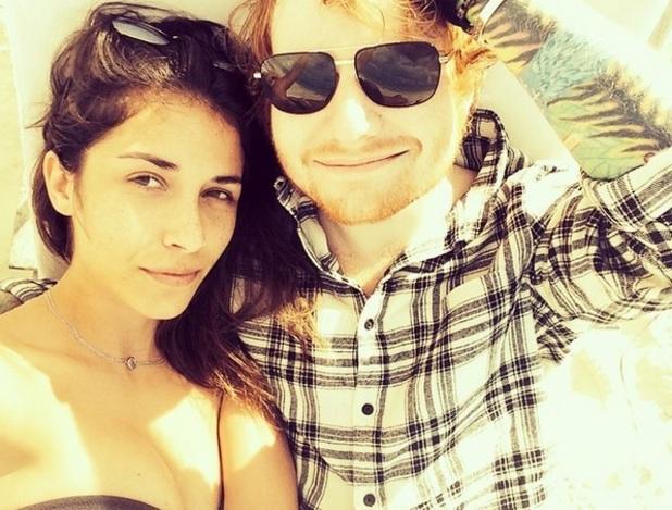 Ed Sheeran and girlfriend Athina Andrelos take beach selfie, Instagram January