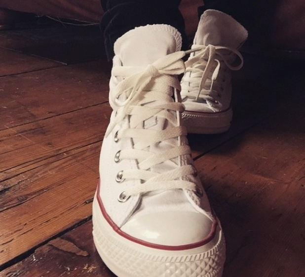 Mollie King wears Converse to the recording studio - 18 Feb 2015