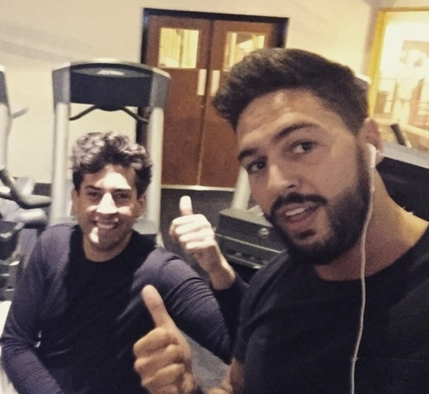 TOWIE stars Mario Falcone and James Arg Argent at the gym, Instagram 20 February