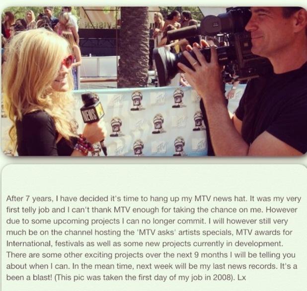 Laura Whitmore announces she has quit MTV News 16 February