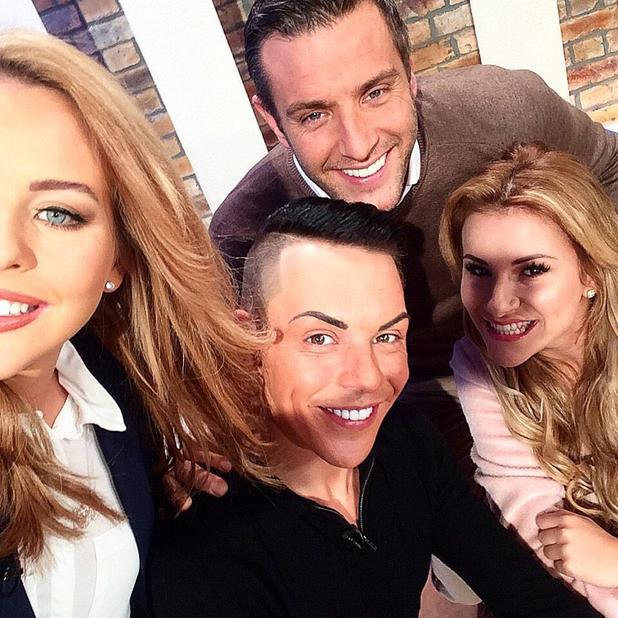 The Only Way Is Essex's Bobby Norris takes a selfie with his co-stars on the set of This Morning - 16 February 2015.