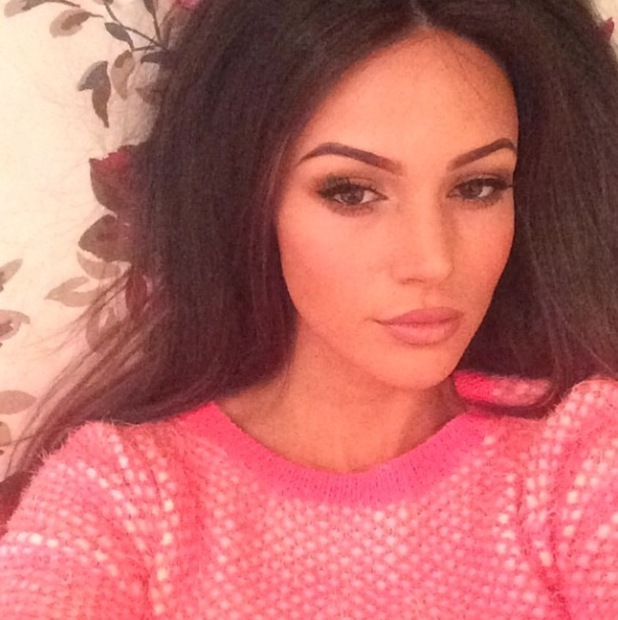 Michelle Keegan poses in knitted jumper from own Lipsy collection - 19 Feb 2015