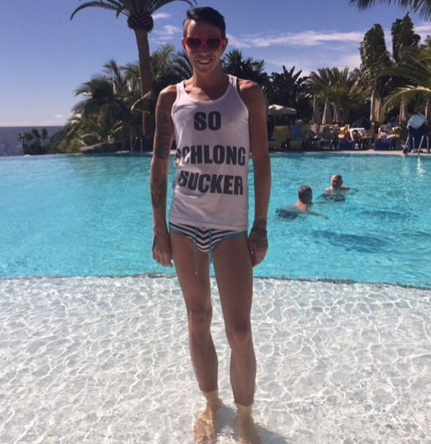 The Only Way Is Essex's Bobby Norris poses in the pool in Tenrife - 14 February 2015.