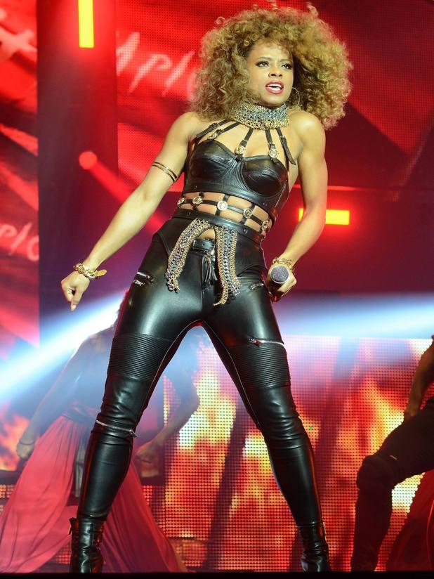 Fleur East wears leather catsuit at X Factor Live Tour 2015, Dublin, Ireland, 15 Feb 2015
