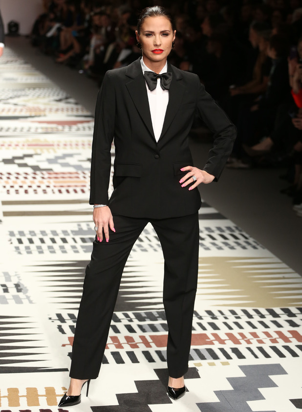 Katie Price walks the catwalk in a tuxedo for Fashion For Relief in London - 19 Feb 2015