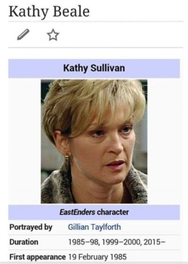 Gillian Taylforth makes EastEnders return and her Wikipedia page appears to be edited before screen appearance - 19 February.