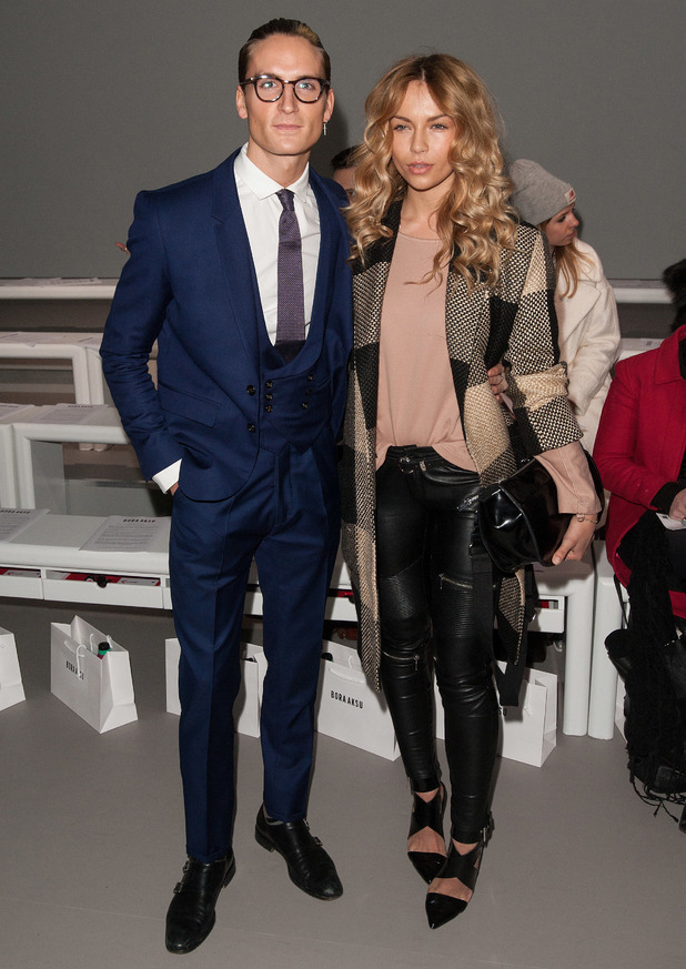 Oliver Proudlock and Emma Louise Connolly attend Bora Aksu show at London Fashion Week, Somerset House, London 20 February