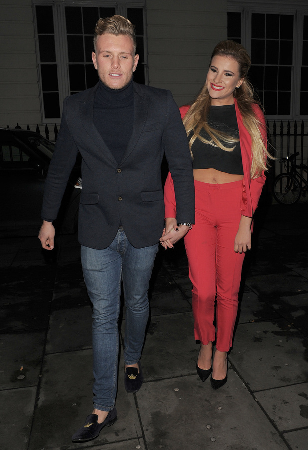 The Only Way Is Essex's Tommy and Georgia attend the Christmas wrap party - 12/11/2014.