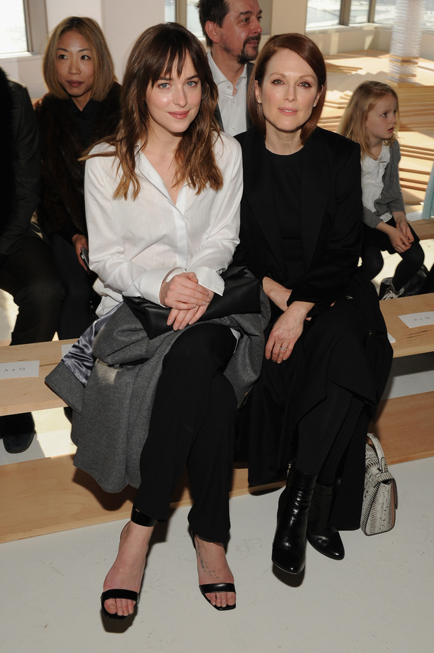 Dakota Johnson and Julianne Moore make a stylish pair on the front row at NYFW