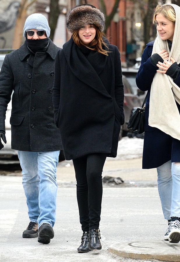 Dakota Johnson is seen on February 16, 2015 in New York City.