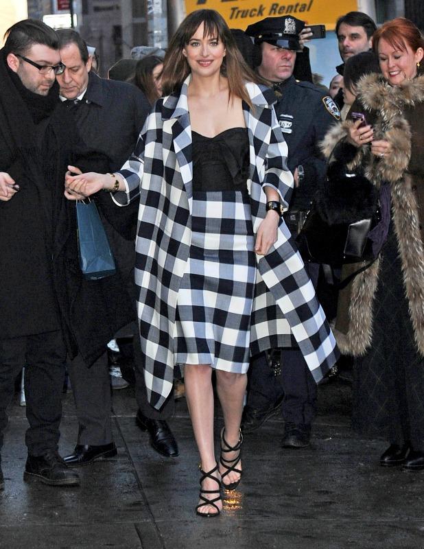 Actress Dakota Johnson is seen on February 17, 2015 in New York City.