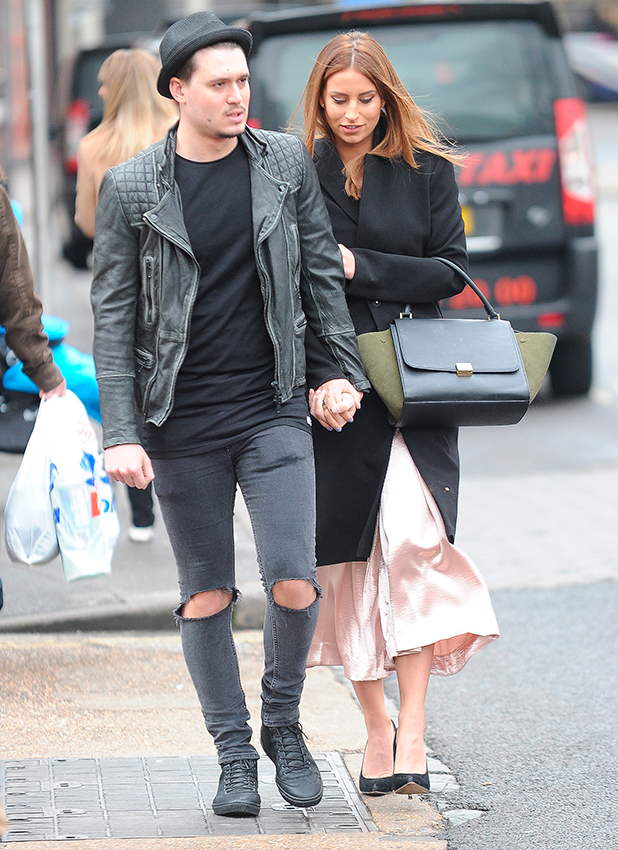 Ferne McCann and Charlie Sims. The Only Way Is Essex' stars at Evoke Nightclub in Chelmsford, Essex, 14 February 2015
