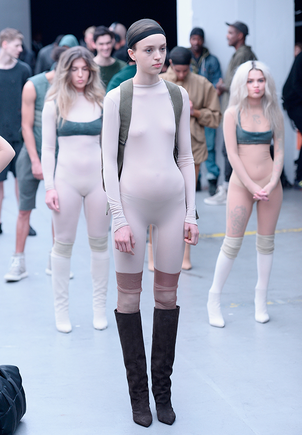 Models walk the runway at the adidas Originals x Kanye West YEEZY SEASON 1 fashion show during New York Fashion Week Fall 2015 at Skylight Clarkson Sq on February 12, 2015 in New York City.