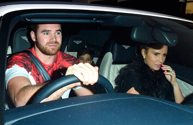 Katie Price and husband Kieran Hayler seen out with her son and daughter, Princess and Junior, leaving X Factor contestant Sam Bailey concert at the Hammersmith Apollo, 18 February 2015