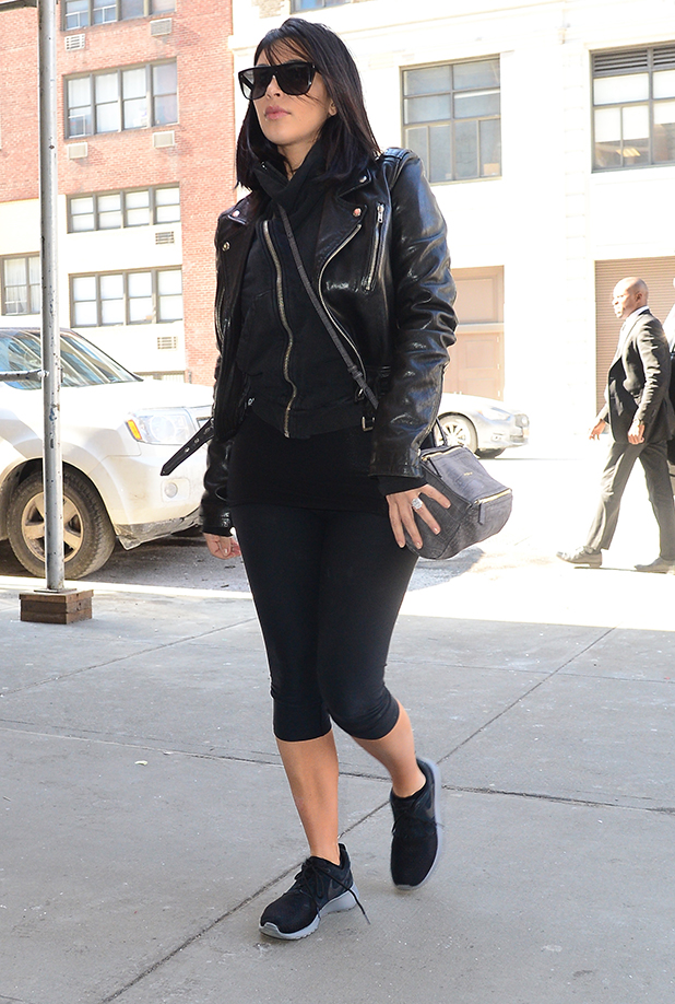 Kim Kardashian is seen outside a GYM in Soho on February 16, 2015 in New York City. (Photo by Raymond Hall/GC Images)