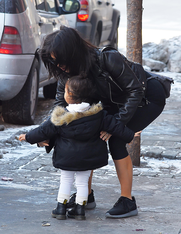 Kim Kardashian and daughter North West seen in New York, 15 February 2015.