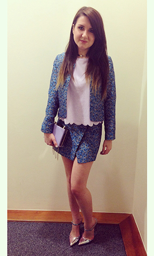 Fashion assistant Harriet Davey wearing floral outfit 19th February 2015