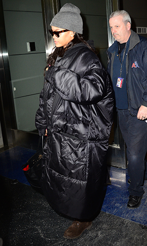 Rihanna is seen arriving at 'JFK Airport' on February 18, 2015 in New York City.
