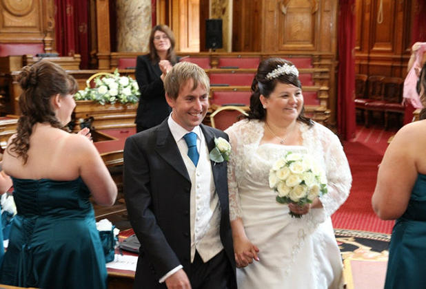 Sian Hopkins-Smith and husband Richard on their wedding day.