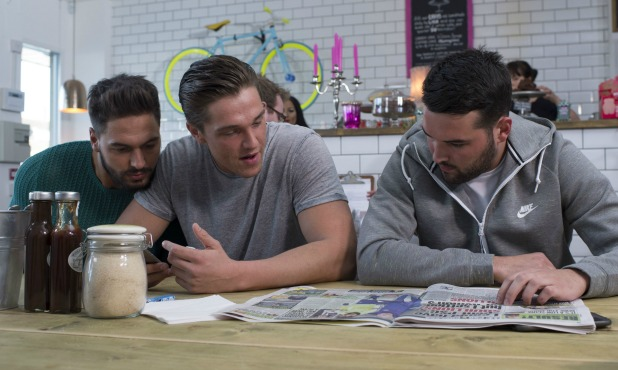 The Only Way is Essex' cast filming, Billericay, Essex, Britain - 17 Feb 2015 Mario Falcone, Lewis Bloor and Ricky Rayment
