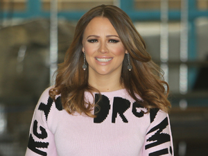 Kimberley Walsh looks pretty in pink slogan jumper on This Morning