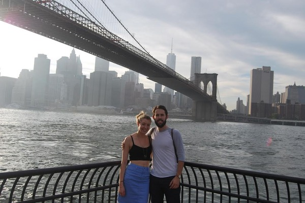 Reveal's celebrity editor Emma Hunt getting engaged in New York in 2014 by the Brooklyn Bridge