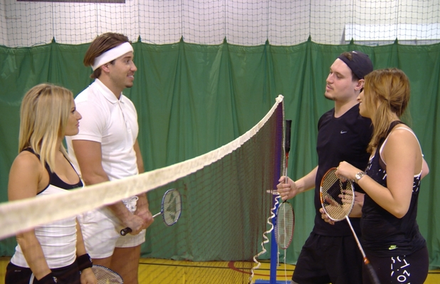 TOWIE preview for 1 March, Danielle Armstrong, Charlie Sims, James Lock and Ferne McCann play badminton, ITVBe