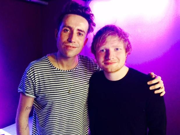 Ed Sheeran joins Nick Grimshaw as guest co-host of the Radio 1 Breakfast Show in London - 24 February 2015.